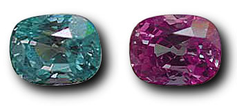This 5.25-ct. alexandrite, here shown in daylight (left) and incandescent light (right) is an example of the finest of this gem variety. It comes from Tunduru, Tanzania, and was recently sold by Pala International.  (Photo:   John McLean   ; Gem:   Pala International   )