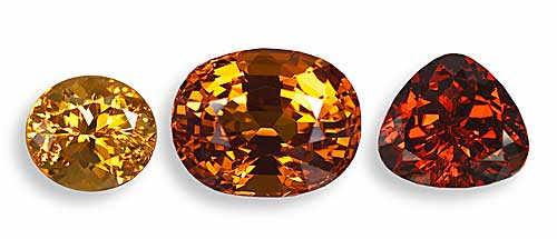 These different flavors of Nigerian spessartite garnet. Most expensive are the rich red-oranges at right, but what is most beautiful is an individual choice. (Photos: Wimon Manorotkul)