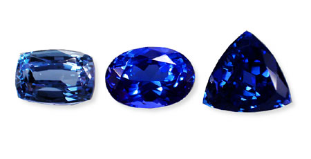This suite of tanzanites shows the typical range of colors possible. The ideal would be the center stone, which is not too light or dark. (Photo: Wimon Manorotkul; Gems: Pala International)