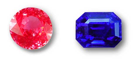 Color coverage can be influenced by a variety of factors, including proportions, fluorescence and inclusions. The round Burmese red spinel at left is strongly fluorescent and the red emission adds extra power to the red body color, covering up extinction. With the fine emerald-cut Kashmir sapphire pictured at right, color coverage is improved by the presence of tiny needlelike inclusions, which scatter light across the stone, thus reducing extinction. This is what gives Kashmir sapphires their incomparable velvety color. Note that both of these gems have colors which are highly saturate, making them highly desirable. Photos: Wimon Manorotkul, John McLean