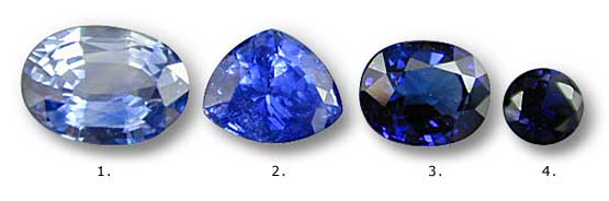 Four blue sapphires showing a variation in saturation and tone. Stone 1 possesses a light tone and low saturation. Stone 2 is close to ideal in both tone and saturation. Stone 3 has greater saturation than Stone 2 in some areas, but its overall tone is too dark and it shows too much extinction. Stone 4 is so dark in tone that its saturation is reduced. Note that inclusions are far more visible in stones of light tone than those of dark tones. Photo: Wimon Manorotkul