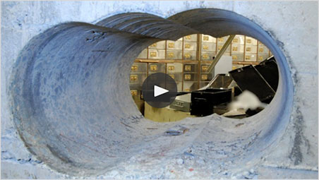 This image was chosen by the Guardian to illustrate the  video  of a press conference announcing the apprehension of the Hatton Garden thieves. It shows the thickness of the vault's walls, through which the thieves bored.