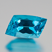 Yum.  Apatite is nicely priced for stones in bigger sizes. Above, a natural blue rhomboid cushion from Madagascar, 3.06 ct, Inv.  #20428 . (Photo: Mia Dixon)