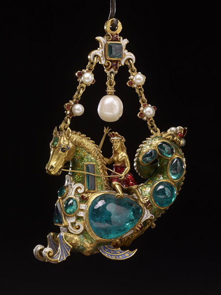Hippocamp Pendant.  Enameled gold, emeralds and pearls. Height 7.3 cm, width 6.4 cm, depth 2.4cm. The Waddesdon Bequest. (Photo © The Trustees of the British Museum)