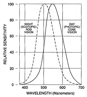 Figure 9. An illustration of the Purkinje Shift. In bright light the eye is more sensitive to longer (red) wavelengths; in dim lighting the eye's sensitivity shifts slightly to the shorter (blue/violet) wavelengths (after General Electric Co.).