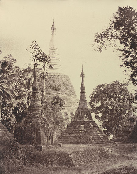 Linnaeus Tripe. Rangoon: Near view of the Shwe Dagon Pagoda, November 1855. (Collection of National Gallery of Art, Washington, courtesy Victoria & Albert Museum)