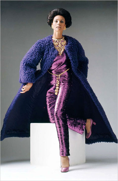 Christian Dior  (France), evening ensemble. Haute couture, fall/winter 1968–69. Wool, plastic sequins, glass and plastic beads, metallic thread. Appeared in 'Fashion Freedom '68.' (Photo courtesy of Johnson Publishing Company, LLC)