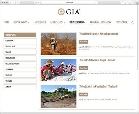 Via GIA laboratory Bangkok's field research page you have access to reports and streaming videos for nine countries in Africa and south Asia. Above, a page with the latest reports from all countries.