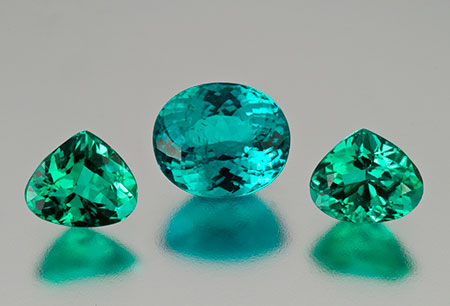 Long gone. These Brazilian paraiba tourmalines were our featured stones for January 2012, but they have long since been snapped up. Blue green center oval, 2.8 carats, 9.22 x 7.8 x 5.57 mm, and the green teardrop pair, 2.51 carats, 7.5 x 6.3 x 4 mm. (Photo: Mia Dixon)