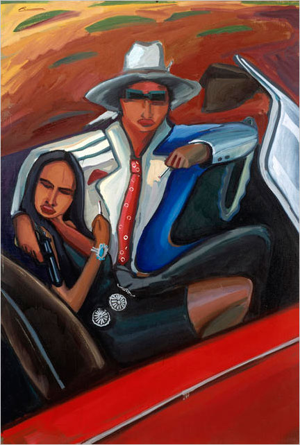 Bank Job (Bonnie and Clyde Series #2)   by Mateo Romero, Cochiti, 1992. The moll in this painting, from DAM's Native American collection, is accessorized with turquoise bracelet and silver concho belt. Denver Art Museum; Native Arts acquisition fund.