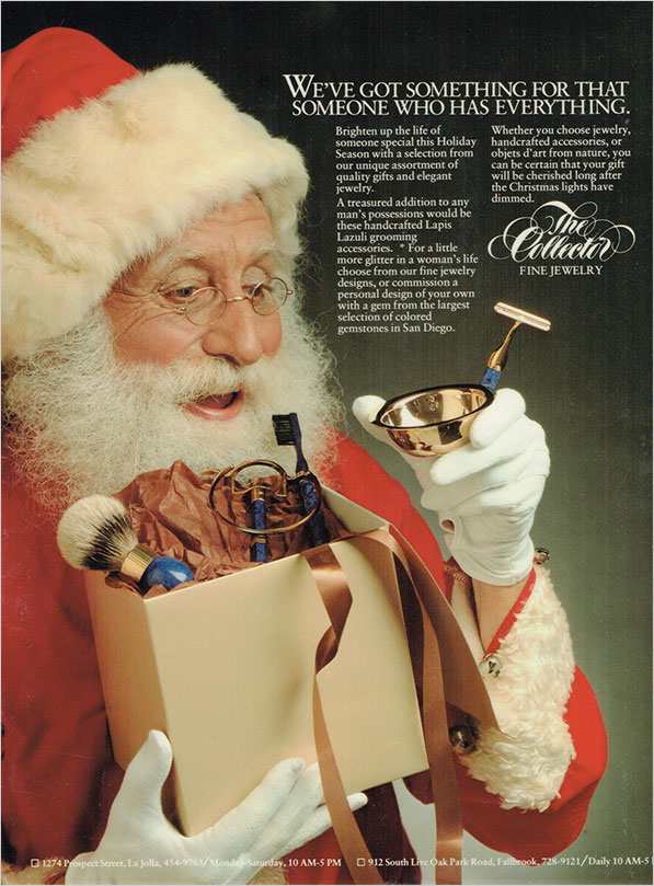 Blue Christmas. It's been three decades since Pala International's sibling enterprise, The Collector Fine Jewelry, ran a series of seasonally-inspired ads like this one in which Santa receives a set of grooming accessories handcrafted with lapis lazuli. ( Click to enlarge) We will feature other ads from the series in the months to come.