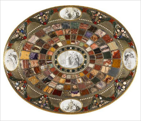 Teschen Table. View of the tabletop. It has a width of 70.5 cm and a height of 81.5 cm. See the  campaign website for detailed views. (Photo: © Philippe Fuzeau/Musée du Louvre)