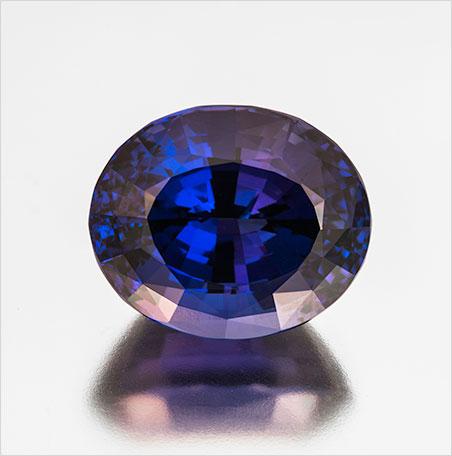 Blue Christmas? Oval cut tanzanite, 45.10 carats, 22.57 x 18.69 x 15.44 mm, heated. Inventory  #362 . This stone was custom-cut by Bernd Cullman, Idar-Oberstein, Germany. (Photo: Mia Dixon)