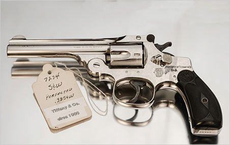 """Pistol with provenance. The engraving reads, """"Property of Tiffany & Co. No. 6."""" (Photo: Mia Dixon)"""