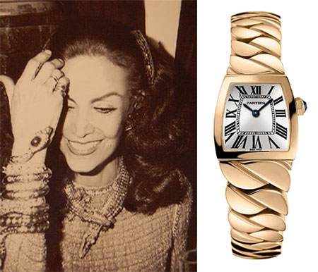 La Doña. It appears that Cartier engaged in some crocodile cannibalism, issuing in 2006 its La Doña de Cartier collection, the watch from which features scale-like band and croc-like trapezoidal case and face. Marketing included color images of a Félix stand-in. Like Countess Granard, Félix was involved in thoroughbred horse racing, by way of her last husband, French banker Alex Berger.