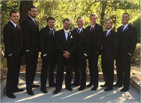 Groomsmen. From left, Chris Anson, Jason Engel, Carl Larson, Will Larson, Dan Szajngarten, Ben Sobczak, Trey Fleming, Jacob Ceseña. (Photo: Bill Larson)