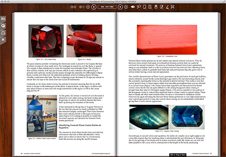 A screenshot from the  Laboratory Created Gemstones section. Tom Chatham, of Chatham Created Gemstones, commented that he'd never seen such depth on the subject. Almost too much; it could breed new competitors.