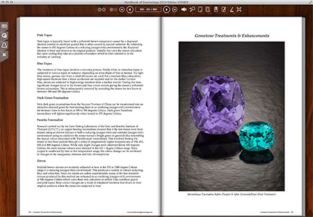 A screenshot from the  Gemstone Treatments & Enhancements  section provides a sample of the lovely photography of Tino Hammid. Pictured are two Mozambique tourmalines, before (left) and after (right) heat treatment.