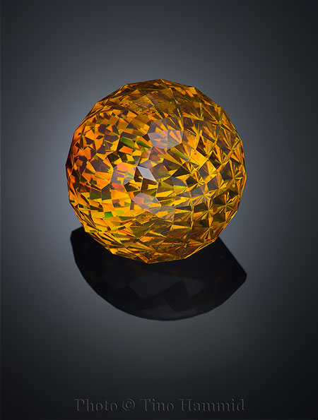 From page 553 of  The Handbook of Gemmology . This wonderful 39-carat fancy-cut gem sphalerite was sold to Pala International's Bill Larson at this year's AGTA GemFair in Tucson by Tino Hammid, whose hundreds of photographs are featured in the book.
