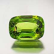 Peridot is on the bill for this year's Sinkankas Symposium. This is a 11.33-carat Burma beauty. Inv. #21399 . (Photo: Mia Dixon)