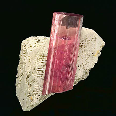 Chapter 6 (along with the others) contains examples of lovely mineral specimens like this  tourmaline from the Himalaya Mine in Mesa Grande, California, with etched feldspar. (Photo: John McLean, Pala International)