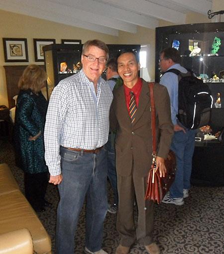 "Looking Westward. Pala International's Bill Larson, left, stands with U Kyaw Thaung, at the Westward Look show in Tucson last week. ""U Kyaw is one of our Mogok suppliers; I met him back in 1995,"" Bill told us. ""He loved Tucson!"""