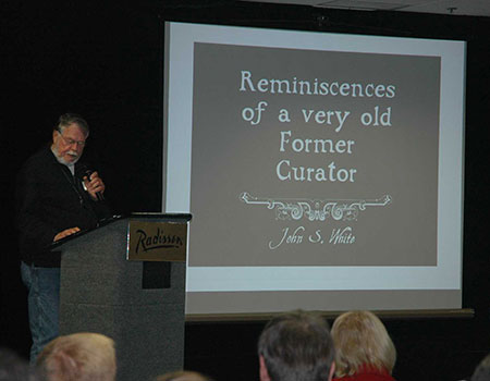 John S. White , speaking at the 40th Rochester Mineralogical Symposium in 2013. (Photo: Elise Skalwold)