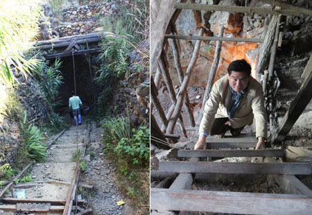 Taking a trip 400 meters into a ruby mine. (Photo courtesy George Shen)