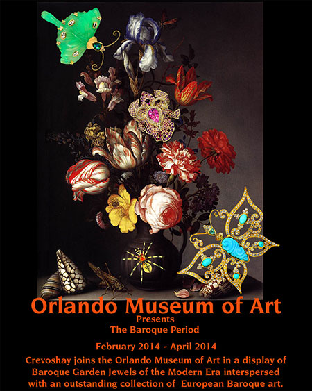 Go for Baroque. As the Orlando Museum of Art celebrates its 90th year with an exhibition of Baroque masterpieces (such as that of Balthasar van der Ast, above), a complementary display will feature latter-day nature-themed Crevoshay jewels on loan from five local collectors. A sixth, a butterfly pendant valued at $19,000, can be acquired by the lucky donor who obtains a $25 chance to win, with the proceeds benefiting the museum's educational programs. The drawing for the pendant will take place in May.
