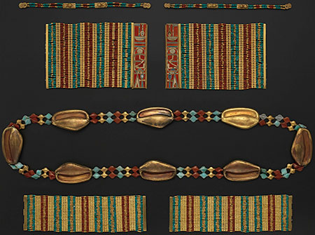 Sets of Bracelets and Anklets of Princess Sithathoryunet. Gold, carnelian, turquoise. A, B. Bracelets with Lions: L. 14.5 cm (5¾ in.). C, D. Bracelets with Name of Amenemhat III: L. 12.5 cm (4-7/8 in.), H. 8–8.1 cm (3?–3¼ in.). E, F. Anklets: L. 15.4 cm (6 in.), H. 4.5 cm (1¾ in.). Twelfth Dynasty, reigns of Senwosret II to Amenemhat III (ca. 1887–1813 B.C.E.). The Metropolitan Museum of Art, New York, Purchase, Rogers Fund and Henry Walters Gift, 1916 (16.1.8, .9, .10a, .11a, .12, .13).