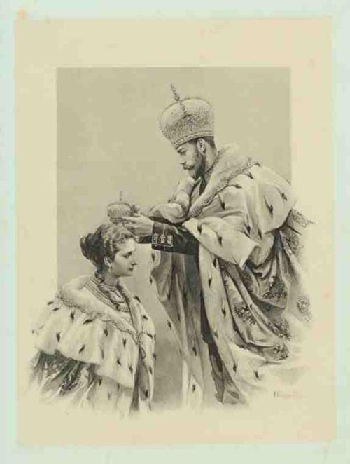 Emperor  Nicholas II  crowning  Alexandra Feodorovna in the Uspensky Cathedral in 1896.