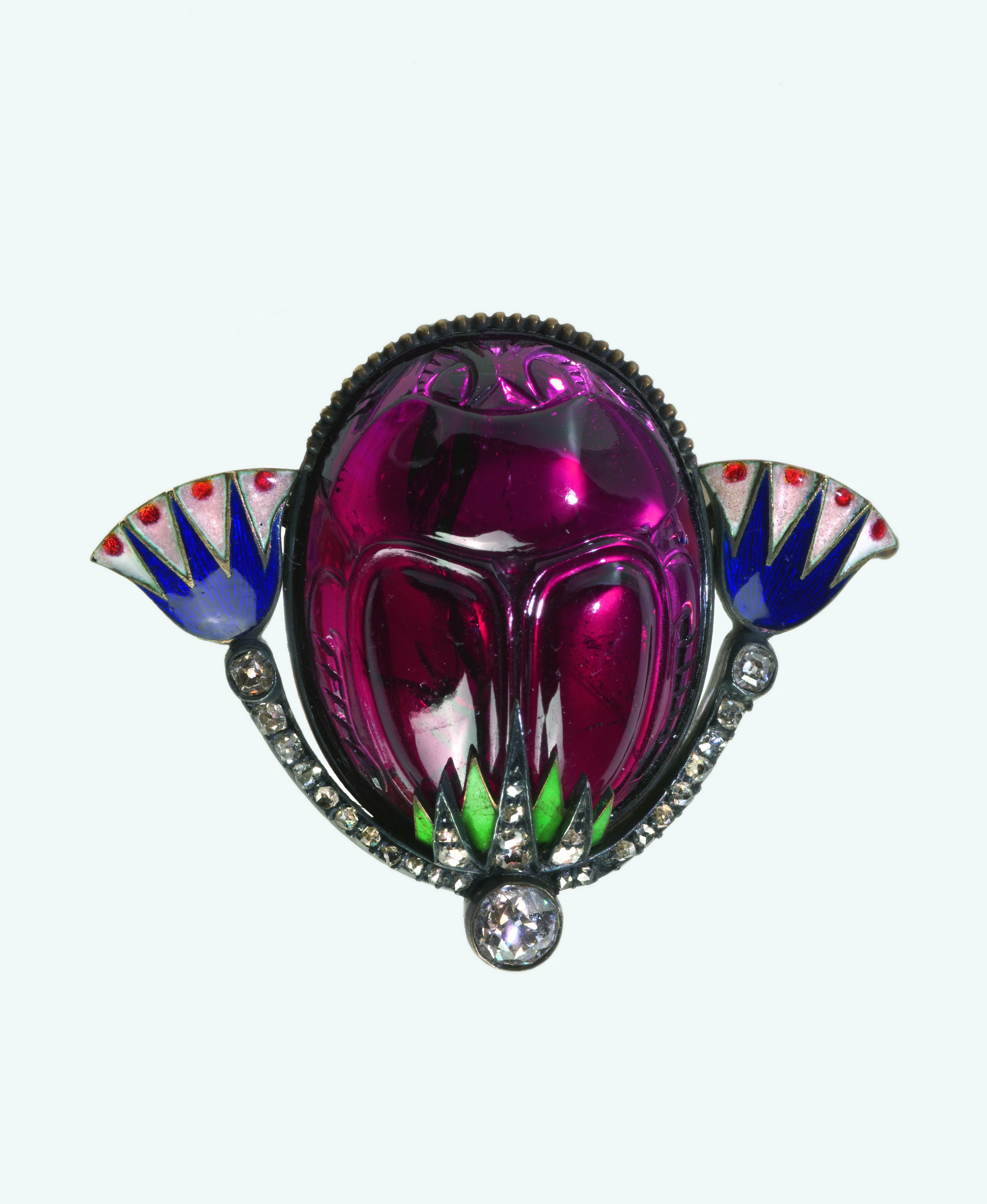 Carl Fabergé (1846–1920), Fabergé workshop, Saint Petersburg, Carl Faberge (work master).   Scarab  Brooch , about 1900. Garnet, gold, diamonds, rubies, enamel, silver. 2.8 x 3.8 x 1.9 cm. Virginia Museum of Fine Arts, Bequest of Lillian Thomas Pratt.  Also featured in   Faberge, Jeweller to the Czars   last year at the Montreal Museum of Fine Arts.  (Photo courtesy The Montreal Museum of Fine Arts)