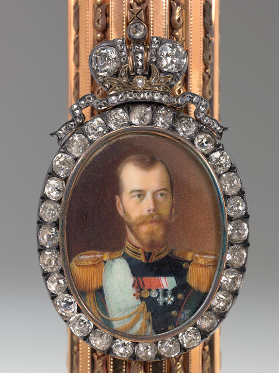 Carl Fabergé (1846–1920), Fabergé firm, St. Petersburg, Henrik Wigstrom (workmaster), Vasili Zuev (miniaturist).   Column Portrait Frame with a Miniature of Nicholas II  , Imperial presentation gift, 1908. Gold, silver, diamonds, ivory, watercolor. 15.2 x 5.5 x 5.5 cm; miniature: 3.1 x 2.5 cm. Virginia Museum of Fine Arts, Bequest of Lillian Thomas. Also f  eatured in   Faberge, Jeweller to the Czars   last year at the Montreal Museum of Fine Arts. (Photos courtesy The Montreal Museum of Fine Arts)