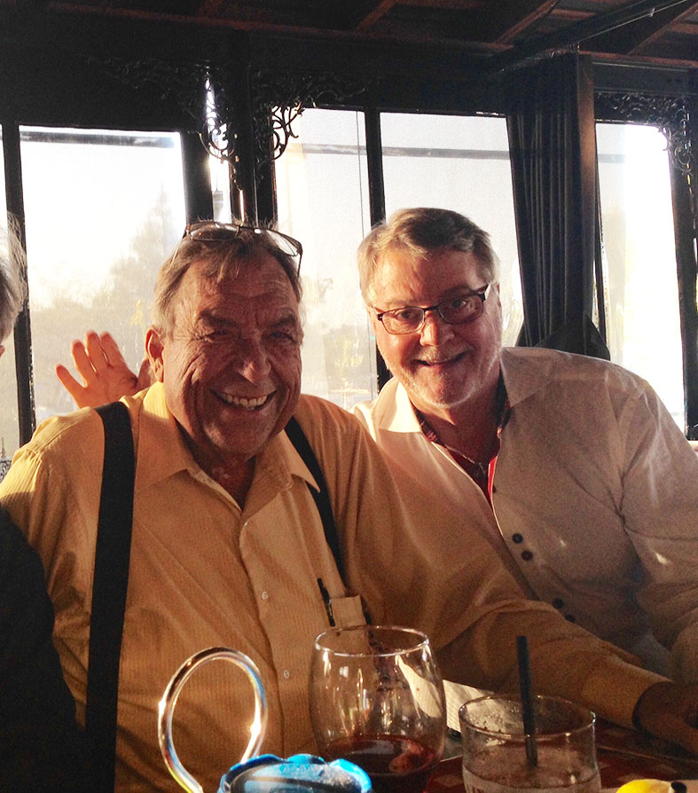 Roger Merk, left, with Pala International's Bill Larson, at this year's  Sinkankas Symposium   speakers dinner.