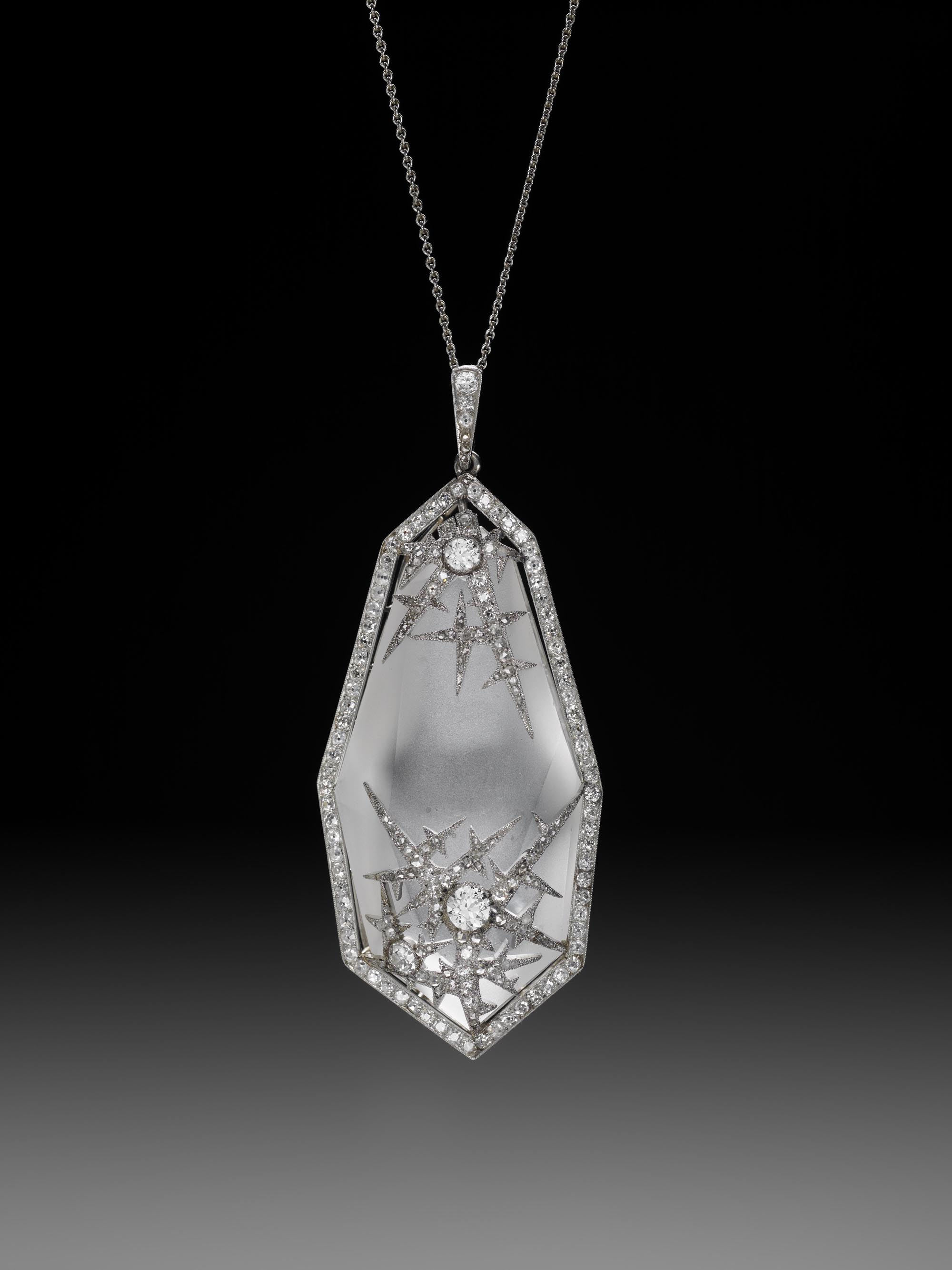 "Baby, it's cold outside.  In 2012 we  featured  an image of the Nobel Ice Egg and its accompanying ""Surprise"" Watch Pendant. This is a pendant on the same theme: Ice Crystal Pendant by Fabergé, workmaster Albert Holmstrom, St. Petersburg, ca. 1913. (Image courtesy the Houston Museum of Natural Science)"
