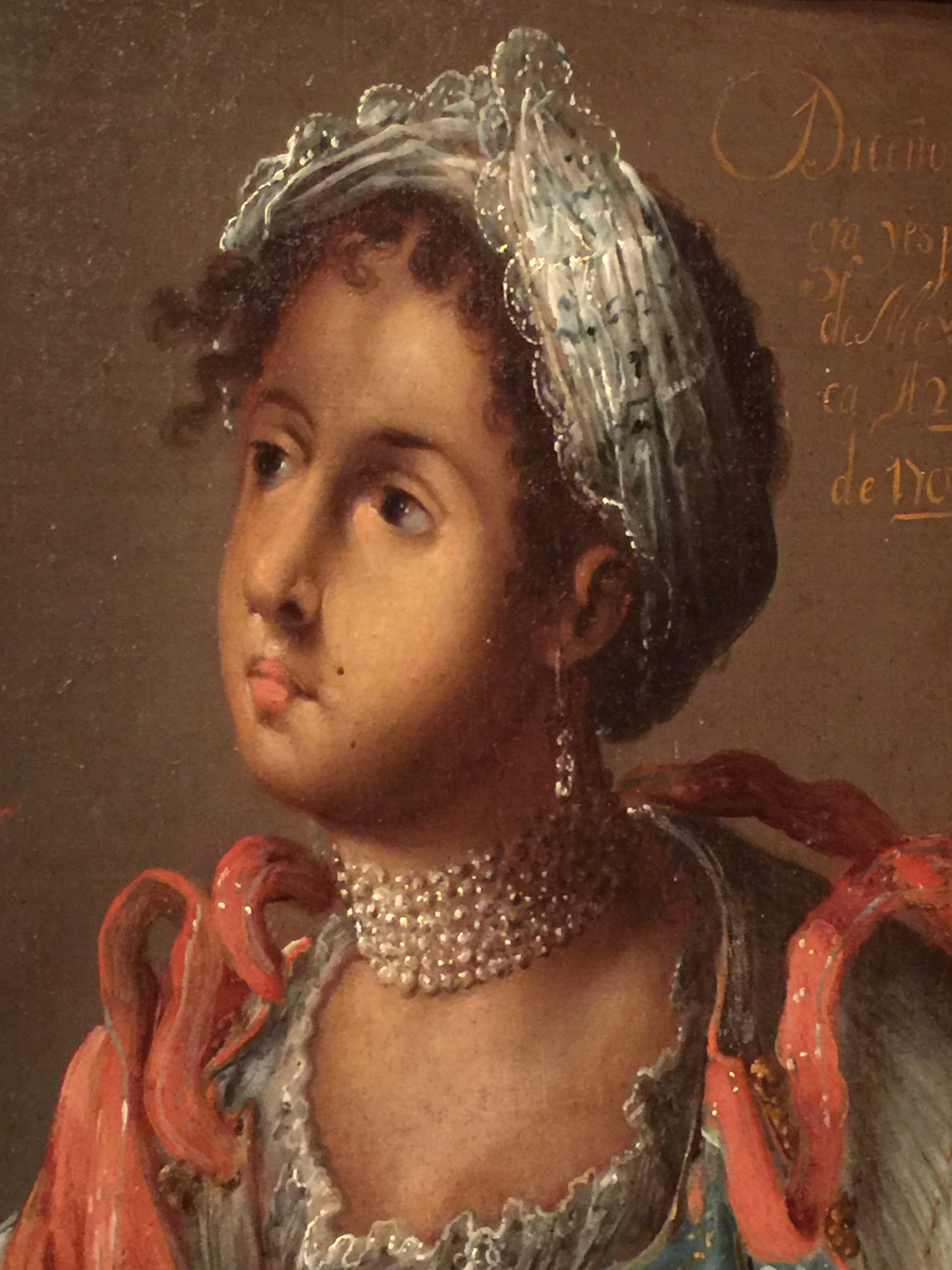 Manuel de Arellano,  Rendering of a Mulatta , Mexico, 1711, oil paint on canvas (detail). Collection of Frederick and Jan Mayer, TL-24502. (Photo: David Hughes)