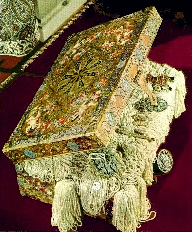 """Enameled chest bursting with pearls.Meen and Tushingham write (124) that """"the box appears to be an excellent example of the renaissance in the craft which occurred under Nasir ud-Din Shah."""""""