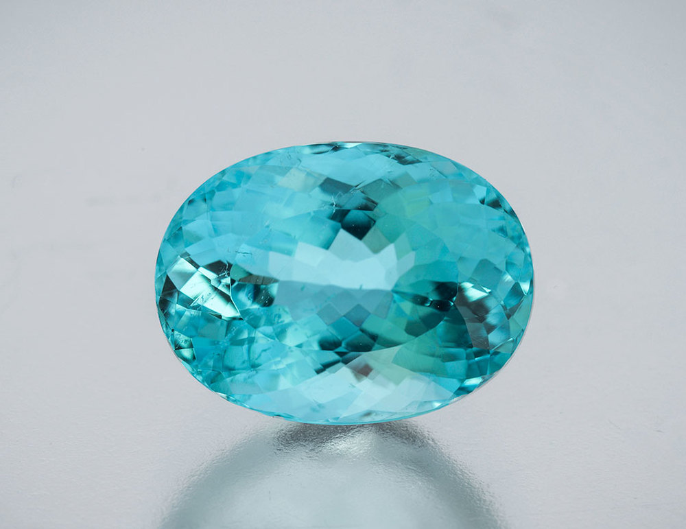 Heated rare Nigerian neon tourmaline ,   4.18 carats, 11.4 x 8.5 x 6.3 mm. This has been sold. (Photo: Mia Dixon)