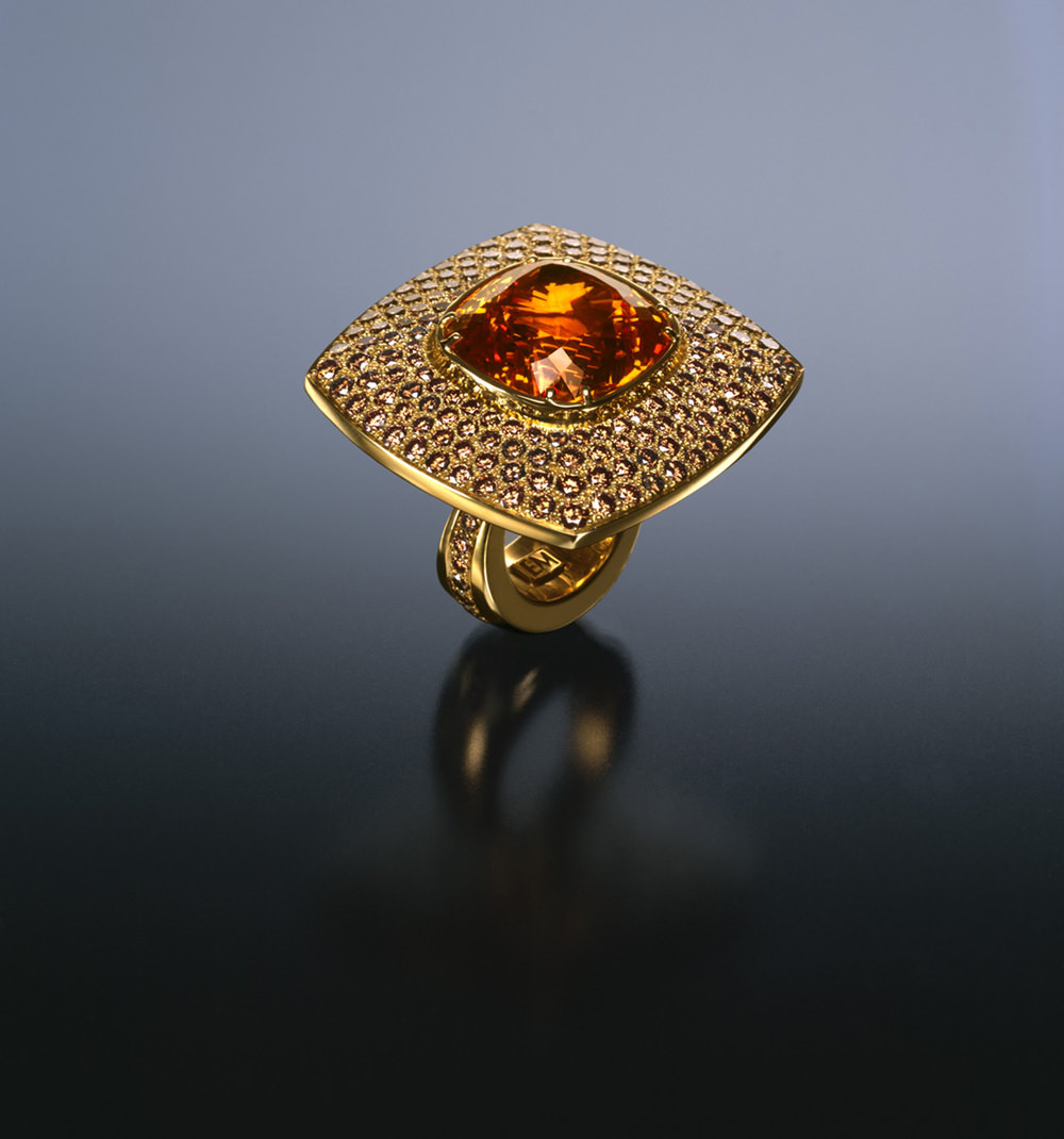 Garnet ring.  One of the beautiful jewels displayed in  The Lester and Sue Smith Gem Vault  of the Houston Museum of Natural Science, which opened in November of 2006. For three years, Pala International's Gabrièl Mattice helped in the acquisition of many of the gemstones for the collection.The ring was designed and created by Ernesto Moreira. (Photo: Thomas R. DuBrock)