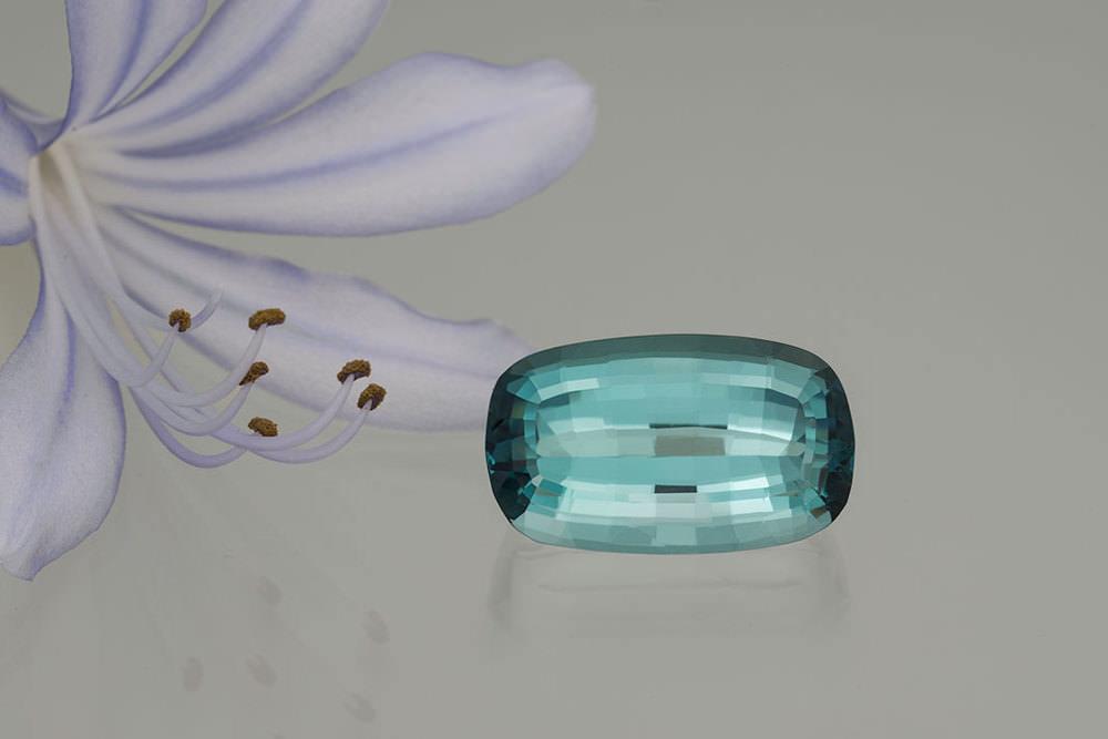New life.  Natural Brazilian indicolite tourmaline, 21.49 carats, 20.9 x 12.6 x 10.2 mm. (Photo: Mia Dixon)