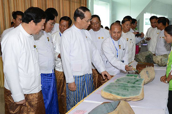 The 53rd Myanmar Gems Emporium will be held this year June 24 through July 6, shadowed by the embezzlement scandal, as  reported  by Myanmar Times. Above, Vice President Dr. Sai Mauk Kham, center visits the opening of last July's gems emporium. (Photo: Ministry of Information)