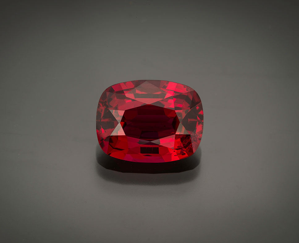 Cherry-red.  5.58-carat Burma spinel, 12.24 x 9.42 x 5.51 mm. Freshly picked from your friends at Pala. (Photo: Mia Dixon)