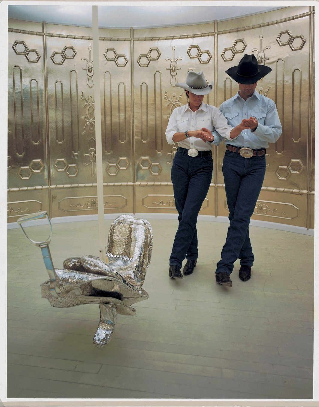Silver saddle.  Still from Matthew Barney's  Cremaster 2 . ( Click  to enlarge)