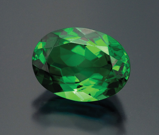 Green tanzanite, 5.45 carats.  Pala International. (Photo: Mia Dixon)