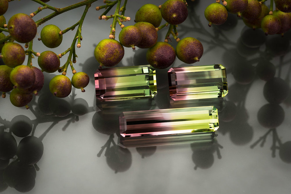 Bi-color tourmaline, paired up and single. (Photo: Mia Dixon).