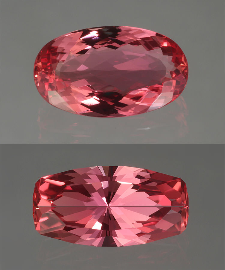 Beauty trumps size. The oval 3.30-carat pink topaz (top) recut by John Dyer to a 2.30-carat radiant eliminating the window. Note the lack of brilliance toward the center (table) of the oval. The radiant pictured (bottom) exhibits the strong multi-color effect typical of topaz. (Photos: John Dyer)