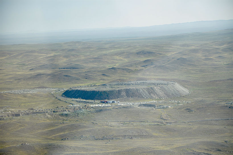 This is a helicopter view of the mine…it was our landing site.