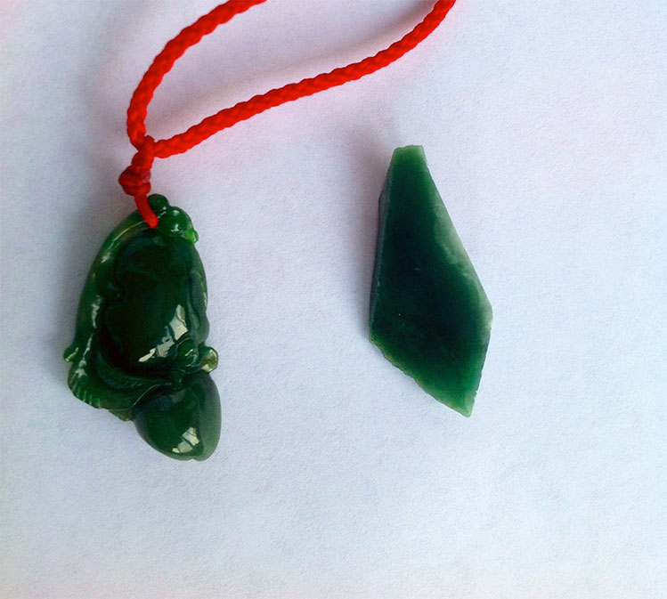 Another similar pattern. The one on the left is Burmese, bought at the Mandalay jade market.