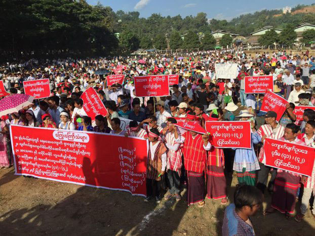 Gemstone foragers protest their plight in Hpakant, Kachin State, on October 20.