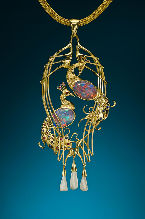 Peacock Pendant.  18k and 22k opal pendant in the Art Nouveau style.  Click  to view detail. (Photo: Jeff Scovil, courtesy R. W. Wise, Goldsmiths)